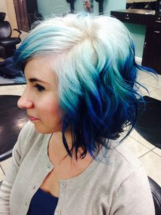 Pravana Blue ombré on a short bob by Jaymi Wilson in the Bay Area, California. #pravana #blueombre #bluehair #olaplex