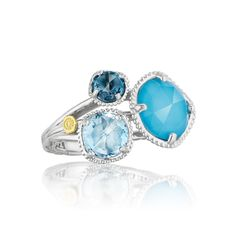 #Tacori style no. SR137050233. The illusion of three in one! A true Tacori triple threat. London Blue Topaz, Clear Quartz layered over Neolite Turquoise, and Sky Blue Topaz are all married together on three .925 silver crescent bands to create a true Tacori beauty.