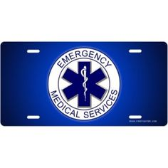 Emergency Medical Services License Plate - on the front of Heather's Wheels