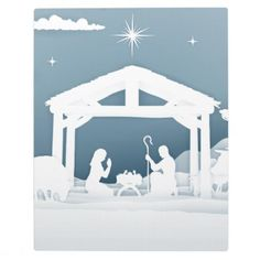 Nativity Christmas Scene Paper Art Style Plaque - paper gifts presents gift idea customize