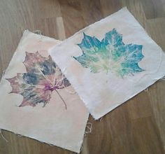 Here are two printed leafs on fabric.I used a range of paint to create the colours of my leafs.