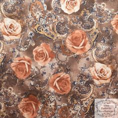ℳ Stretch Panne Printed Velvet Floral Royal Rose Brown Layers  58 Inch