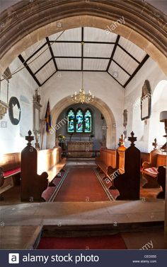 Interior of typical medieval 13th century English country village church, St.Nicholas, Biddestone, Wiltshire, England, UK Stock Photo Church Interior, England Uk, Medieval, English, Interiors, Stock Photos, Mansions, Country, House Styles