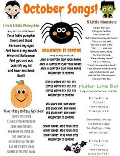 October Songs October songs and finger plays! This resource can be used for circle time in a daycare, preschool, Pre-K, or Kindergarten classroom. This is also a great resource to send home with children to sing the seasonal songs with their families. Fall Preschool Activities, Preschool Songs, Preschool Curriculum, Preschool Lessons, Preschool Learning, Kids Songs, Kindergarten Classroom, Circle Time Ideas For Preschool, October Preschool Themes