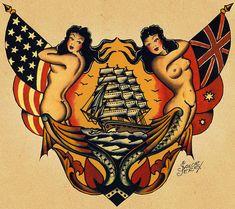 mermaids and ship tattoo