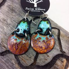 Colorful Scarab Enamel Earrings. Handmade. Enamel. Sterling Silver. Janine Gibbons Designs jewelry is handmade from beginning to end. To