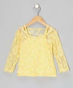 Take a look at this Yellow Lace Long-Sleeve Tee & Camisole - Toddler & Girls by Share n' Smiles on #zulily today!