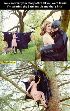 "Engagement photos: ""Our future kids will love this!"" comic book engagement photos, i am batman"