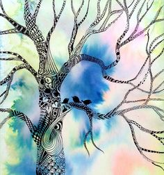 """This piece is a continuation of my mini birds and hearts concentration. I have always loved to draw trees, but until now haven't thought to create one using tangles. The concentration stems from my personal experiences last year. My daughter was born with a slightly cleft palate, and when she was three weeks old- and very very sick, we learned that she had two holes in her heart that would require open heart surgery. Throughout our entire hospital ordeal, we kept hearing Bob Marley's """"Three…"""