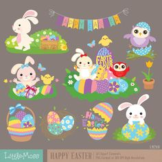 Happy Easter Digital Clipart by LittleMoss on Etsy https://www.etsy.com/uk/listing/249268879/happy-easter-digital-clipart