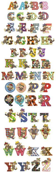 OregonPatchWorks.com - Sets - Jumbo Sock Monkeys Applique Alphabet