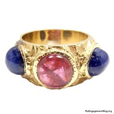 18k Yellow Gold Cabochon Sapphire & Ruby Ring by Bulgari ♥ - My Engagement Ring