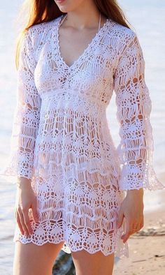 Broomstick pattern crochet beach dress