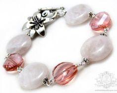 Rose Quartz Bracelet pink bracelet birthstone jewelry pink crystal gemstone bracelet crystal bracelet flower bracelet coin bracelet gift