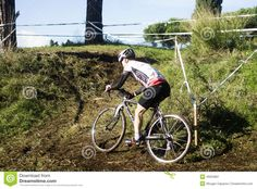 Cyclo cross competitor in action during an event at the Acquedotti in Cinecitta park in Rome, Italy.