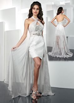 Chiffon Alternating Vertical Pleated Neckline Short Prom Dress