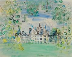 Dufy Le Château de Chambord signed, inscribed and dated 'Raoul Dufy. Chambord (lower right) gouache and watercolor on paper 19 x 25 in.) Painted in 1937 Manet, Abstract Landscape Painting, Landscape Paintings, Landscapes, Pop Art, Raoul Dufy, Fauvism, Art Moderne, Art Party