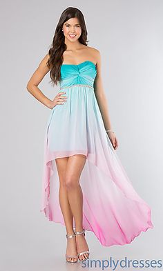 99 USD Strapless Ombre High Low Dress by City Triangles at SimplyDresses.com