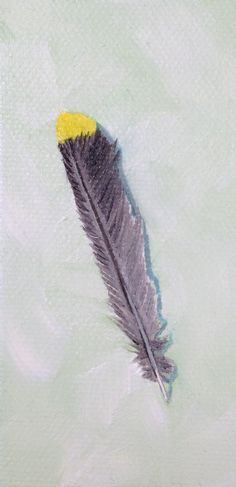 """""""Cedar Waxwing Feather,"""" Daily Painting, $20 Original Feather Art"""