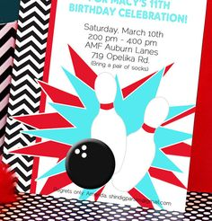 Bowling party invitations free printable kids birthday party bowling party invitation bowling birthday by amandaspartiestogo 1400 filmwisefo