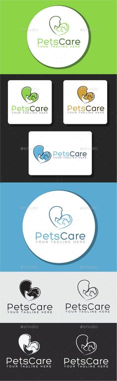 Pet Care Logo Templates — Vector EPS #cat #pets • Available here → https://graphicriver.net/item/pet-care-logo-templates/15071218?ref=pxcr