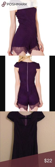 Akita Chicago Purple Lace Romper This romper is very flattering, with a v-neck, cap sleeves, and Lace detailing that hangs past the lining. It has only been worn one time and is in excellent condition. AKIRA Dresses