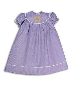 Love this Purple Gingham Monogram Shift Dress - Infant, Toddler & Girls on #zulily! #zulilyfinds