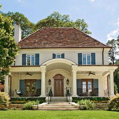 Many homes that exhibit a distinct worldly influence do so because of the grandness of scale! http://www.bhg.com/home-improvement/door/exterior/european-doors/?socsrc=bhgpin030215agrandwelcome&page=12