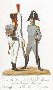 Lieutenant Colonel, Clemens Regiment in Interim Uniform; NCO, Prinz Maximilian Regiment - The Saxon Army in 1810: the Uniform Plates of Alexander Sauerweid
