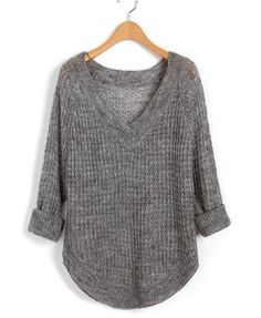 chicnova Gray V Neckline Knitwear with Cut Out Design and Curved Hem