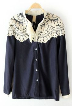 Sewing Idea - Lace  - www.SheInside.com - Shown: Navy Floral Lace Cape Collar Long Sleeve Blouse $30.32