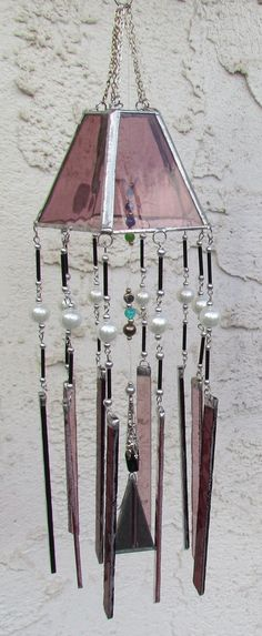 Lavender  Pearls chimes (small lamp shade frame would work as top too)