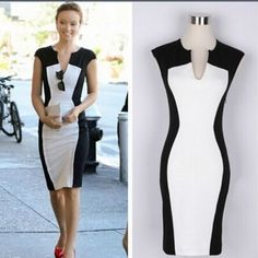 07705c5cb842 Classic silhouette color block in black and white Flattering on any figure!  Over the knee