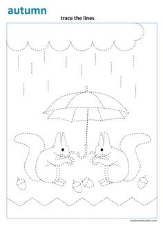 Trace the lines. Fall Worksheet. Preschool, Kindergartern and First grade worksheet, lookbookeducation.com Free Preschool, Kindergarten Worksheets, Preschool Crafts, Preschool Kindergarten, Line Tracing Worksheets, First Grade Worksheets, Bible Study For Kids, Art For Kids, Mickey Coloring Pages