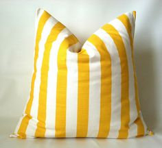 A wide canopy stripe in yellow & white! Nautical Yellow Euro Pillow Cover  22 x 22 24 x 24 by PillowStyles, $22.00