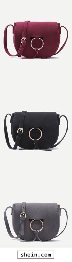 Nubuck Leather Metal Ring Flap Saddle Bag