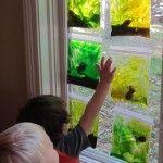 Making squishy fishy aquariums - foam fish in gel bags for the window!!