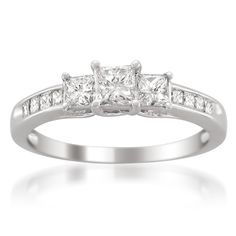 14k White Gold Princess-cut Three-Stone Diamond Engagement Wedding Ring (1 cttw, H-I, I1-I2)
