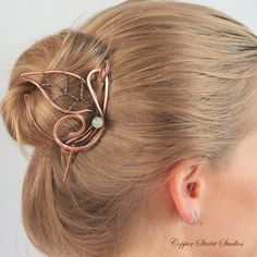 Wire Leaf Hair Pin Shawl Pin Copper Hair by CopperStreetStudios