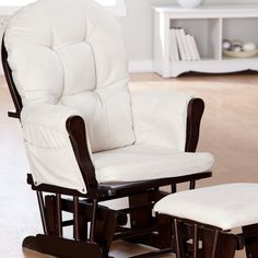 Have to have it. Storkcraft Bowback Glider and Ottoman Set - Espresso/Beige $129 #hayneedlehome