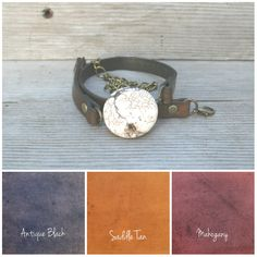 Hand-dyed wrap bracelet with 30 mm magnesite stone and antique brass hardware. Please specify color and wrist circumference when ordering.