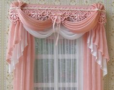 [This is for a dollhouse, but I love the look for a full size house as well.] Miniatura cortinas de casa de muñecas a por TanyaShevtsova Doll House Curtains, Curtains And Draperies, Home Curtains, Kitchen Curtains, Valances, Miniature Furniture, Dollhouse Furniture, Rideaux Shabby Chic, Rideaux Design