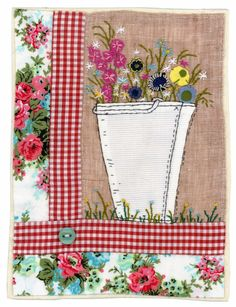 Sharon Blackman: February 2014 Idea to recycle embroidery with new fabric - DIY Recycling Freehand Machine Embroidery, Free Motion Embroidery, Free Machine Embroidery, Sewing Art, Sewing Crafts, Sewing Projects, Fabric Postcards, Fabric Cards, Applique Quilts