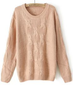 Pink Long Sleeve Chunky Cable Knit Sweater