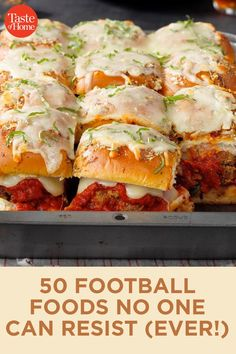 50 Football Foods No One Can Resist (Ever!) 50 Football Foods No One Can Resist (Ever!),Super Bowl Party Recipes 50 Football Foods No One Can Resist (Ever! Super Bowl Party, Tailgating Recipes, Tailgate Food, Football Recipes, Appetizers For Party, Appetizer Recipes, Parties Food, Football Party Foods, Best Football Food