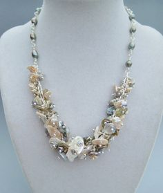 Luxe Keishi Pearl Necklace  Dripping With by hangingbyathread1