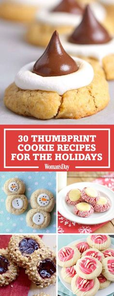 Spread the cheer this year with these buttery sweet treats. You wont be able to resist the Hershey Smores kiss cookies or the adorable snowman thumbprints. These easy recipes will be a big hit at your next holiday gathering. Köstliche Desserts, Holiday Desserts, Holiday Baking, Holiday Treats, Holiday Recipes, Delicious Desserts, Dessert Recipes, Christmas Recipes, Holiday List