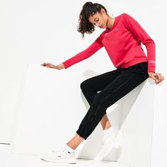 Breathable stretch fabric with a water-resistant treatment offers performance-minded style on the court. These tennis sweats feature an elasticized waist, pockets and zip cuffs for an ideal fit. Lacoste Clothing, Lacoste Sport, Sport Tennis, Ideal Fit, Sports Women, World Of Fashion, Stretch Fabric, Sweatpants, Clothes For Women