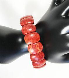 Apple Coral Beads Stretch Bracelet Boho Style Red Orange Oval