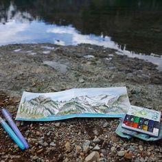 "Art by Claire Giordano ""Prismacolor Pen and Watercolor field sketching. Alpine Lakes wilderness. Summer 2015."""